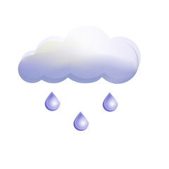 cloud gray  with drops, rain on a white background