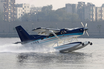 A sea-plane carrying India's Prime Minister Narendra Modi takes off from the Sabarmati river in Ahmedabad
