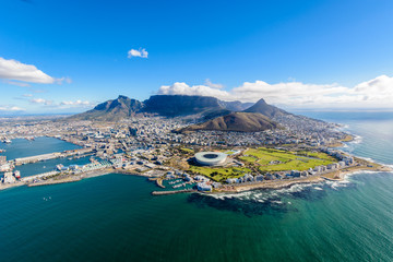 Aerial photo of Cape Town Wall mural