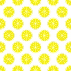 Yellow citrus background of cut fresh juicy lemon rings in row next to each other and alternately below. The concept of healthy fruit eat, diet meal