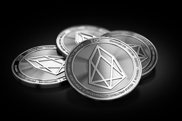 Stack of four silver EOS coins laying on the black background. 3D rendering