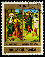 """Painting """"Adoration of the Kings"""" on postage stamp"""