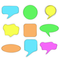 Set of Doodle Blank Bubble Chat and Various Shape, Pastel Colors, Multiple Lines