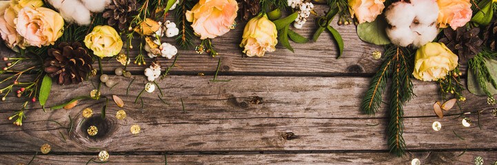 Tuinposter Kruiderij New Year composition of flowers, gifts on a wooden table. Christmas background. Flat lay.Top view