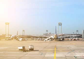Passenger planes in the airport. Aircraft maintenance.