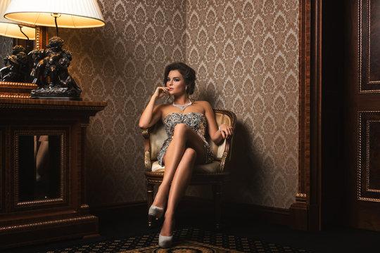 Stunning woman in a beautiful dress