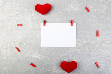 Valentine day. Greeting card with empty space near hearts