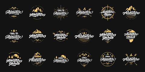 Big Adventure lettering set logos with gold illustrations. Vintage logos with mountains, bonfires and arrows. Adventure logo design. Vector logos for your design. Wall mural