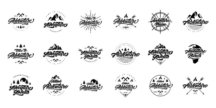 Big black and white Adventure lettering set logos. Vintage logos with mountains, bonfires and arrows. Adventure logo design. Vector logos for your design.