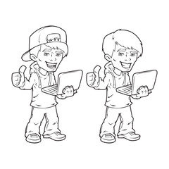 Boy with laptop, outline. Isolated on white background. Vector illustration, eps 10.
