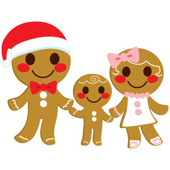 Cute happy sweet gingerbread cookie family holding hands on Christmas day