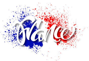 Hand written France. Calligraphic vector text. Flag of France made of colorful splashes.