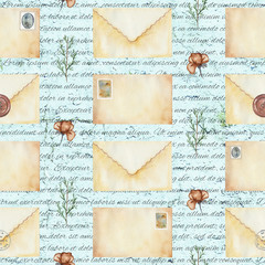Seamless background pattern with letters, stamps, flowers and twigs. Watercolor hand drawn illustration