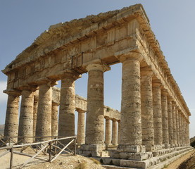 View of the ancient Greek doric temple in Segesta