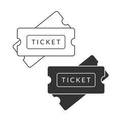 Black and white ticket. Admit one icons illustration