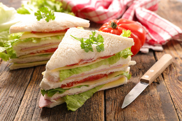 Keuken foto achterwand Snack sandwich slices with salad and tomato