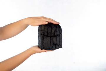 Black charcoal toast bread isolated on white background