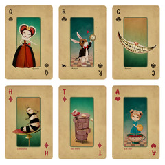 Karty do gry z bajkowej kolekcji fantasy Postacie z Krainy Czarów.