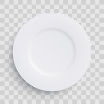 Plate dish 3D white round isolated on transparent background. Vector realistic porcelain flat empty plate or disposable plastic or paper kitchenware