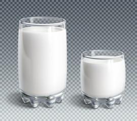 Glass of milk on transparent background