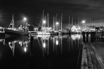 Boats in marina in black and white