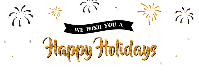 Wall Mural - holiday greeting banner . gold greeting on white background.