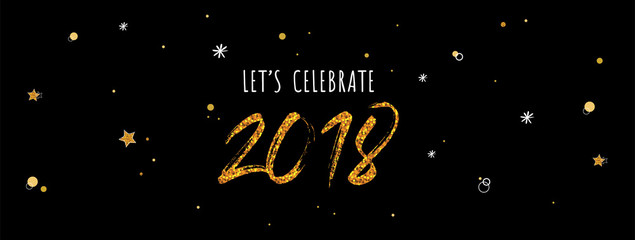 Wall Mural - 2018 celebration banner . gold numbers on night black background.