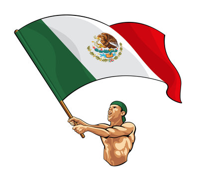 Mexican Fan Waving Flag