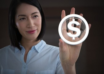 Businesswoman touching dollar graphic icon