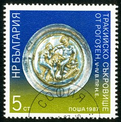 UKRAINE - circa 2017: A postage stamp printed in Bulgaria shows Plate, Series Objects from the treasury of the Thracians, circa 1987