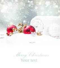 Christmas decoration in snow. Celebration concept.