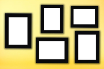 Black photo frame in yellow background