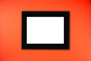 Black photo frame in red background