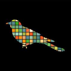 Cuckoo bird mosaic color silhouette animal background black