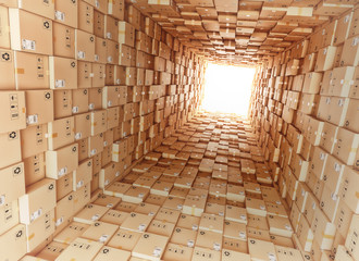 Logistic and distribution warehouse, packages and parcels delivery concept, tunnel from cardboard boxes