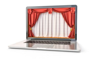 Online show and presentation concept, theater stage interior with red velvet curtains inside laptop's screen, isolated on white