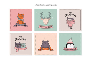 Christmas card set with winter animals.