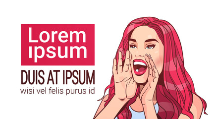 Beautiful Woman Screaming Advertisement Announcement Concept Attractive Female With Long Red Hair Over White Background With Copy Space Vector Illustration