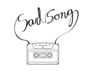 sad song Compact Cassette or Musicassette  hand drawn , cassette tape, audio cassette with analog magnetic tape line art vector illustration