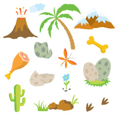 Dinosaur footprint, Volcano, Palm tree, Stones, Bone and Cactus