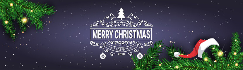 Merry Christmas Message On Horizontal Banner Decorated With Pine Tree Branches Holiday Poster Design Vector Illustration