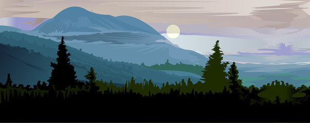 Beautiful landscape painting morning in the forest vector