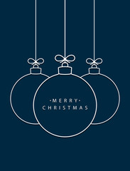 Merry Christmas! Vector hanging abstract line Christmas balls on a string with a bow with shadow on a dark blue background.