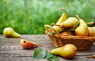 Basket with fresh pears