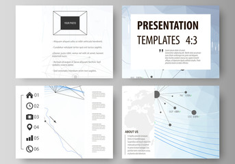 Business templates for presentation slides. Vector layouts. Blue color abstract infographic background in minimalist design made from lines, symbols, charts, diagrams and other elements.