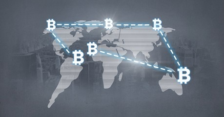 bitcoin icons network connecting on world map