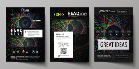 Business templates for brochure, magazine, flyer. Cover design template, easy editable vector, abstract flat layout in A4 size. Bright color lines, colorful beautiful background. Perfect decoration.