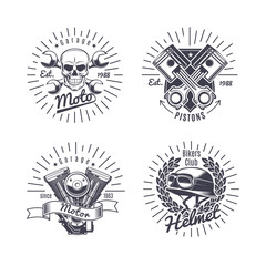 Vintage Monochrome Motorcycle Emblems Set
