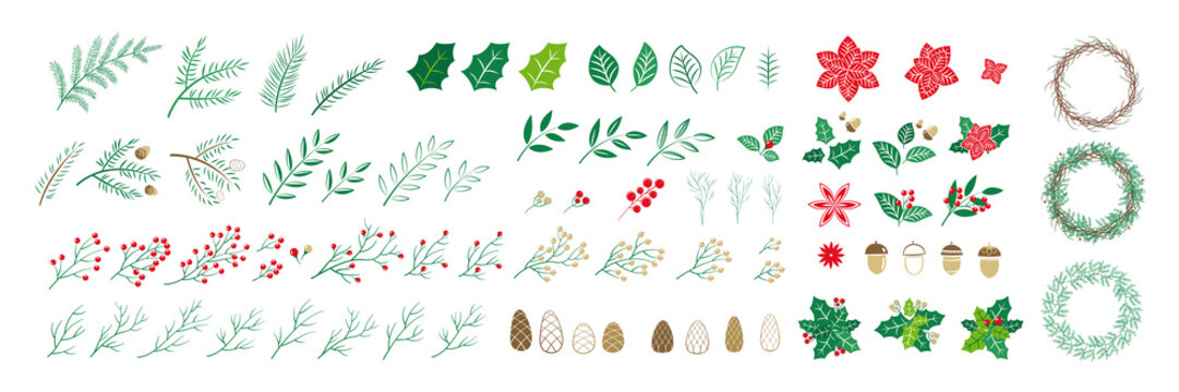 Set of Christmas elements for typographic design. Leaves, branches, berries, pine cones and a round frame for wreaths. Vector illustration in modern style.