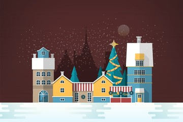 Snowy evening landscape with small European city. Cute houses and holiday street decorations. Gorgeous old town in New Year or Christmas eve. Colorful festive vector illustration in flat style.